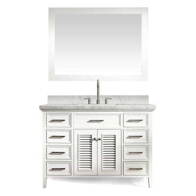 Kensington 49 in. Bath Vanity in White with Marble Vanity Top in Carrara White, Under-Mount Basin and Mirror
