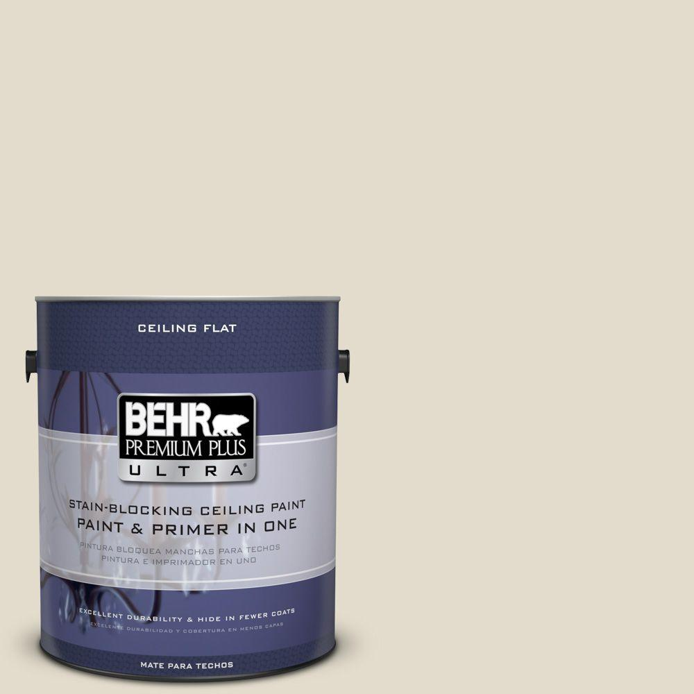 BEHR Premium Plus Ultra 1-Gal. No.UL190-14 Ceiling Tinted to Vintage Linen Interior Paint