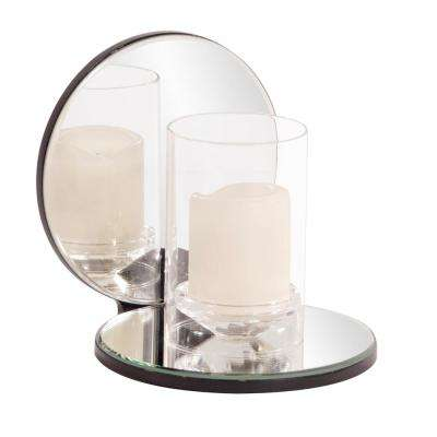 Single Clear Round Mirrored Hurricane Candle Holder