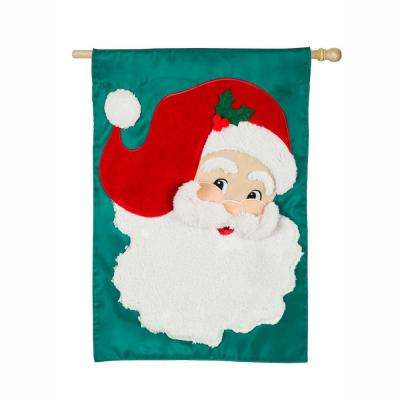 28 in. x 44 in. Jolly St. Nick House Applique Flag
