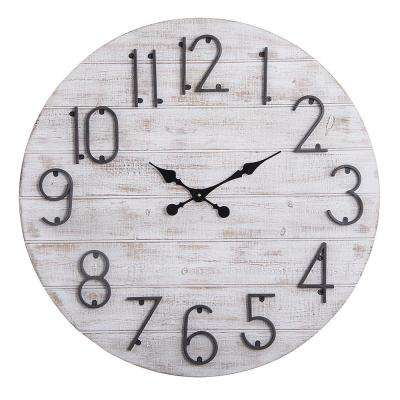 Oversized Round 28 in. Grey Wood finish Wall Clock