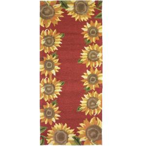 Sunflower Field Red 2 Ft X 5 Ft Indoor Outdoor Runner Area Rug