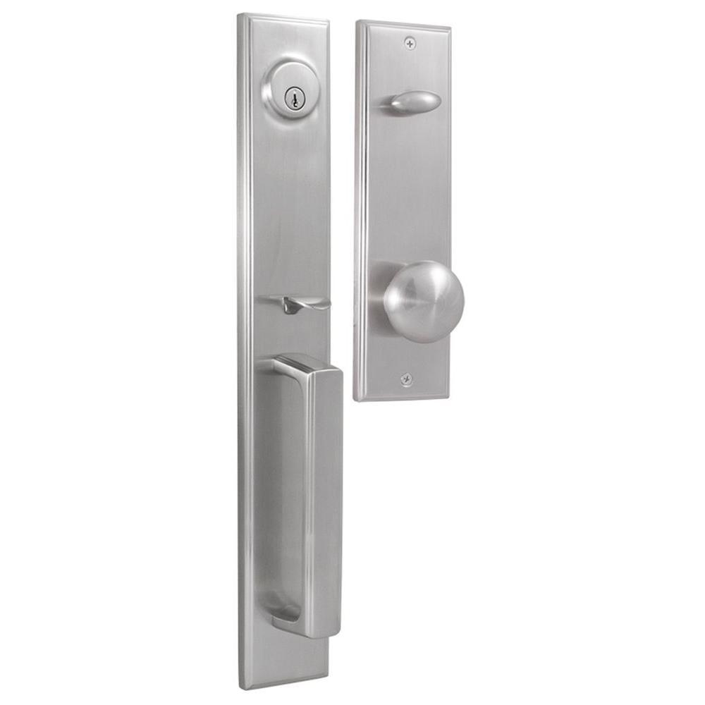 Elegance Single Cylinder Satin Nickel Woodward II Door Handleset with Impresa Knob