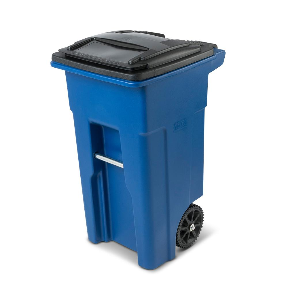Toter 32 Gal. Blue Trash Can with Wheels and Attached Lid