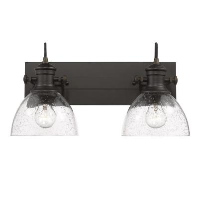 Hines 2-Light Rubbed Bronze Bath Vanity with Seeded Glass
