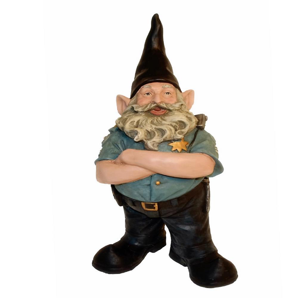 "Gnome In Garden: HOMESTYLES 13 In. H ""Policeman The Hero"" Garden Gnome"