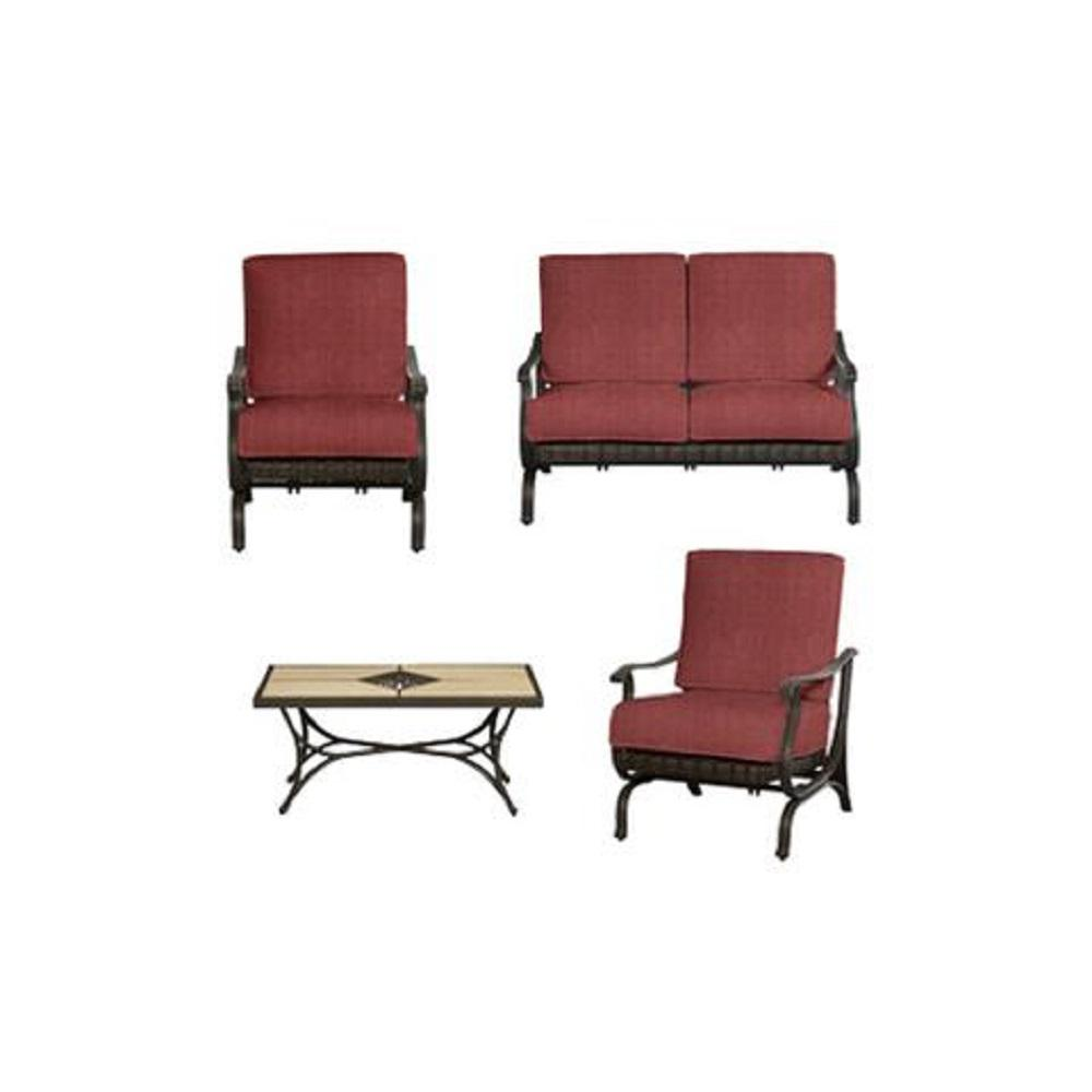 Hampton Bay Pembrey 4-Piece All-Weather Wicker Patio Conversation Set with Chili Cushions