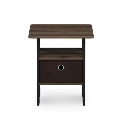 Multipurpose Columbia Walnut Bin Drawer End Table