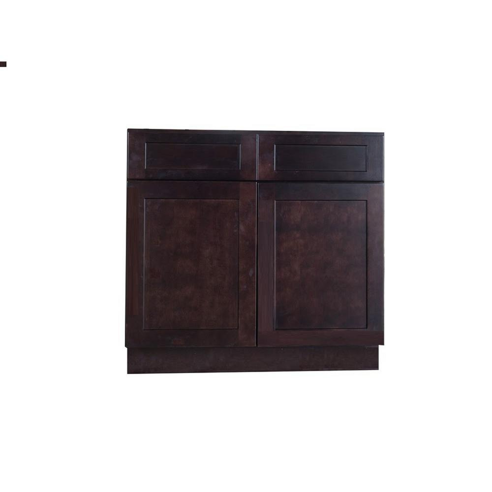 Bremen Shaker Ready to Assemble 39x34.5x24 in. Base Cabinet with 2-Door