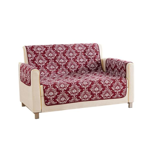QuickFit Aime Water Resistant Wine Fit Polyester Fit Loveseat Slip Cover