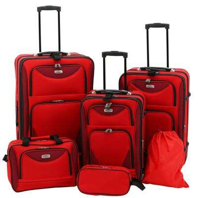 6-Piece Red EVA-Reinforced Dual-Tone Expandable Vertical Rolling Luggage Collection