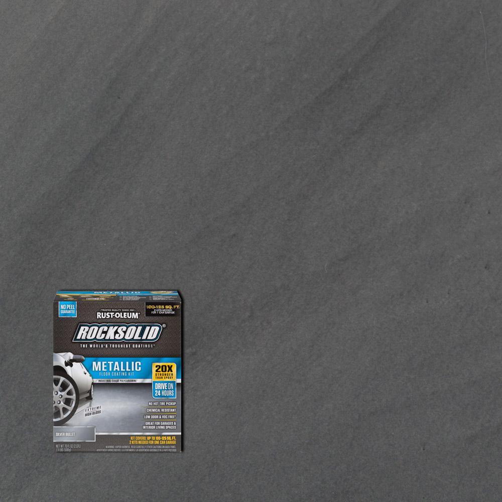 Metallic Silver Bullet Garage Floor