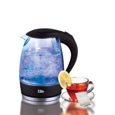 1.7 Liter 7 Cup Cordless Glass Kettle Black Color