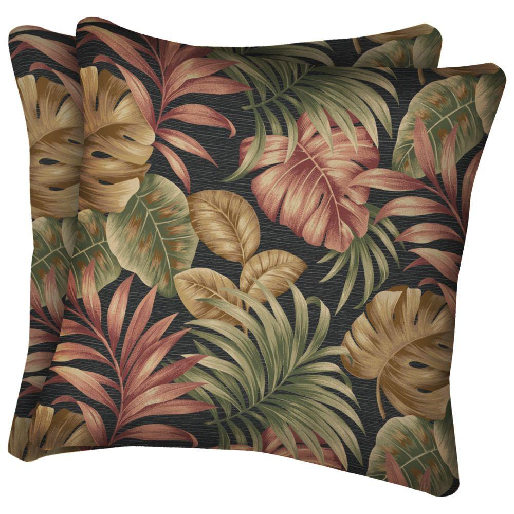 Arden Twilight Palm Square Outdoor Throw Pillow-DISCONTINUED