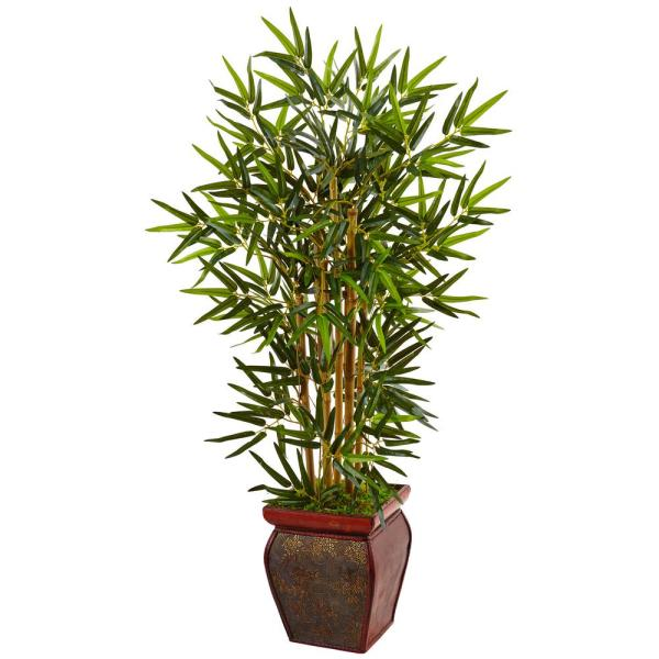 Indoor Bamboo Artificial Tree in Wooden Decorative Planter
