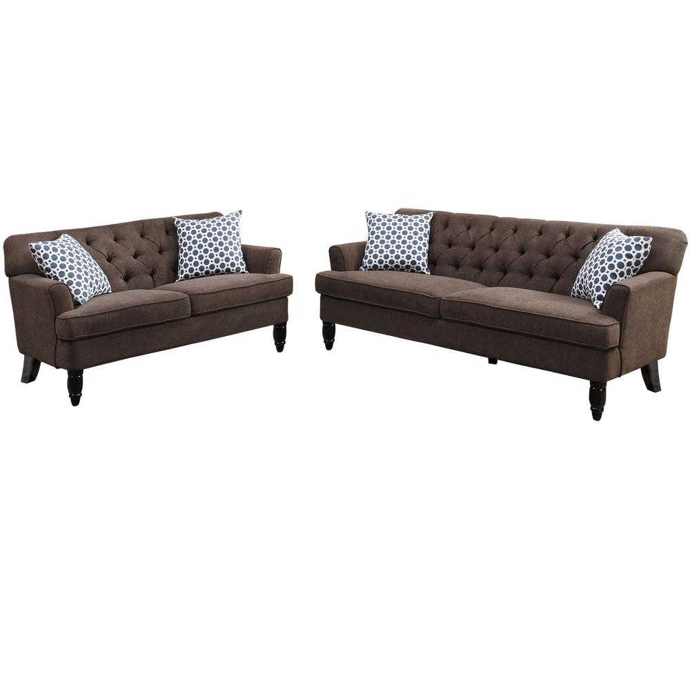 Venetian Worldwide Biella 2 Piece Dark Brown Sofa Set