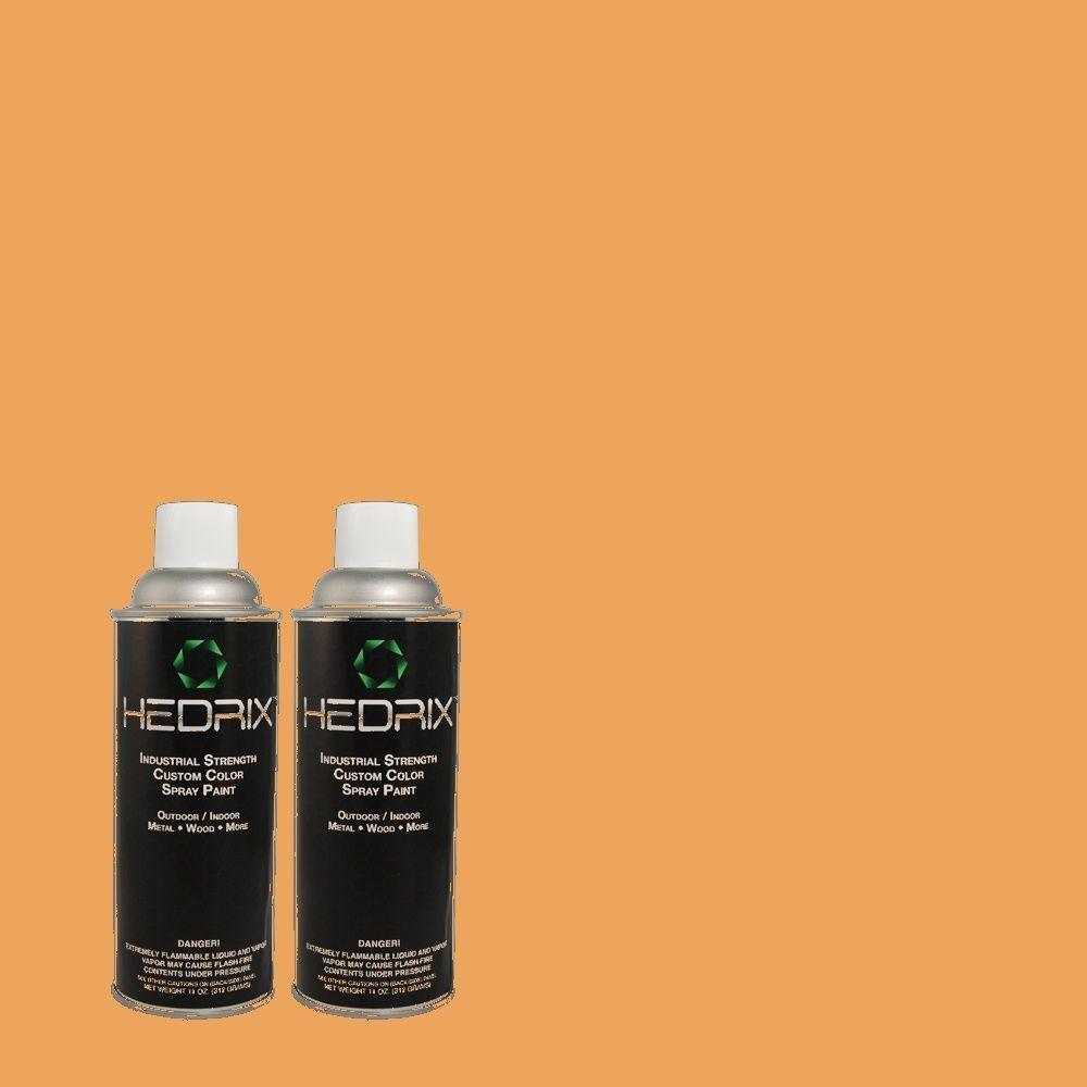 Hedrix 11 oz. Match of 270D-5 Adventure Orange Flat Custom Spray Paint (2-Pack)