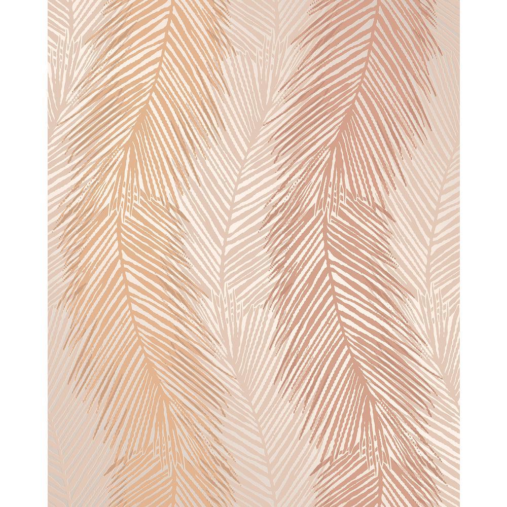 Wheaton Orange Leaf Wave Wallpaper Sample