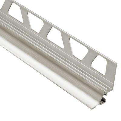 Dilex-AHKA Brushed Nickel Anodized Aluminum 3/8 in. x 8 ft. 2-1/2 in. Metal Cove-Shaped Tile Edging Trim