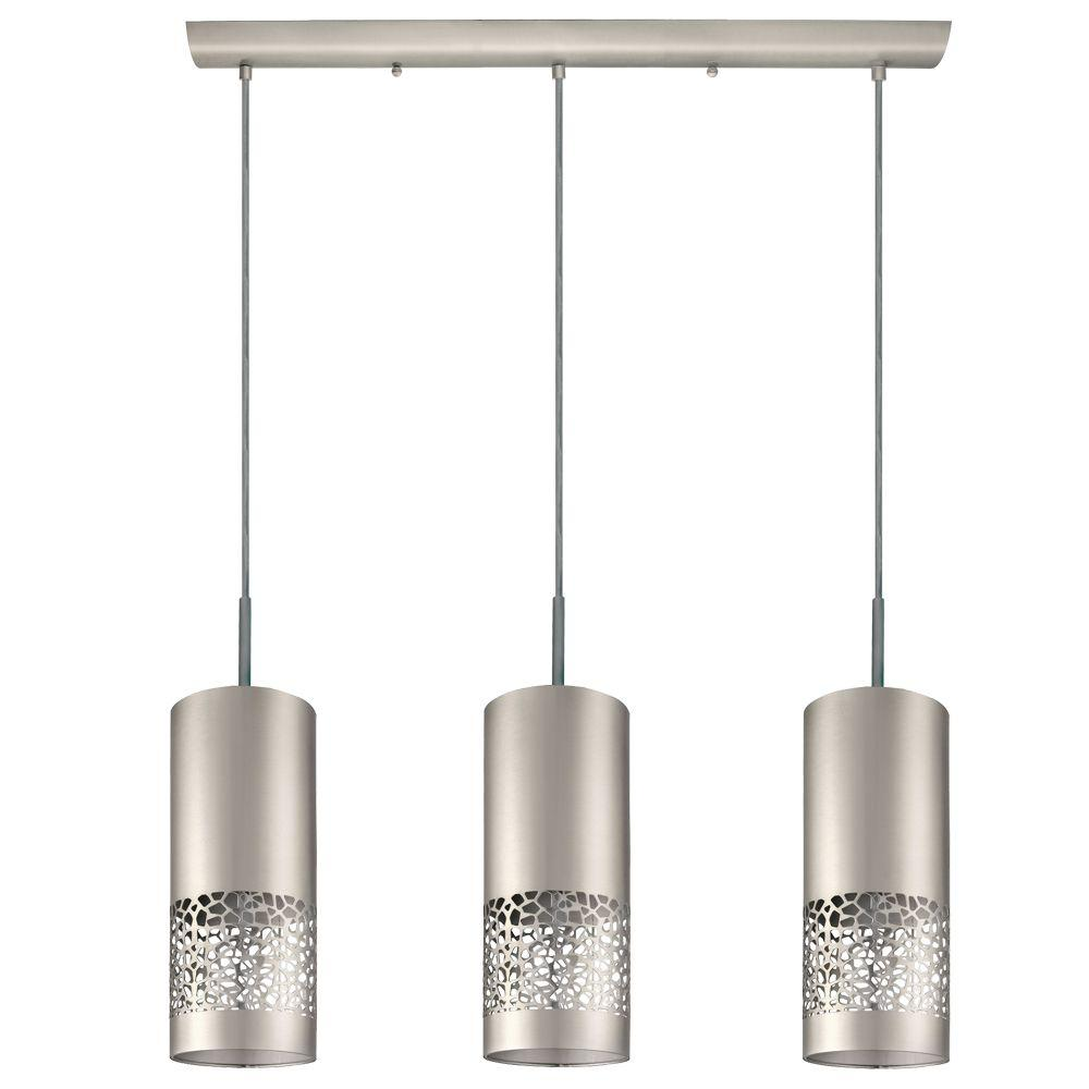 Eglo carmelia 3 light satin nickel hanging light 201425a for Modern island pendant lighting
