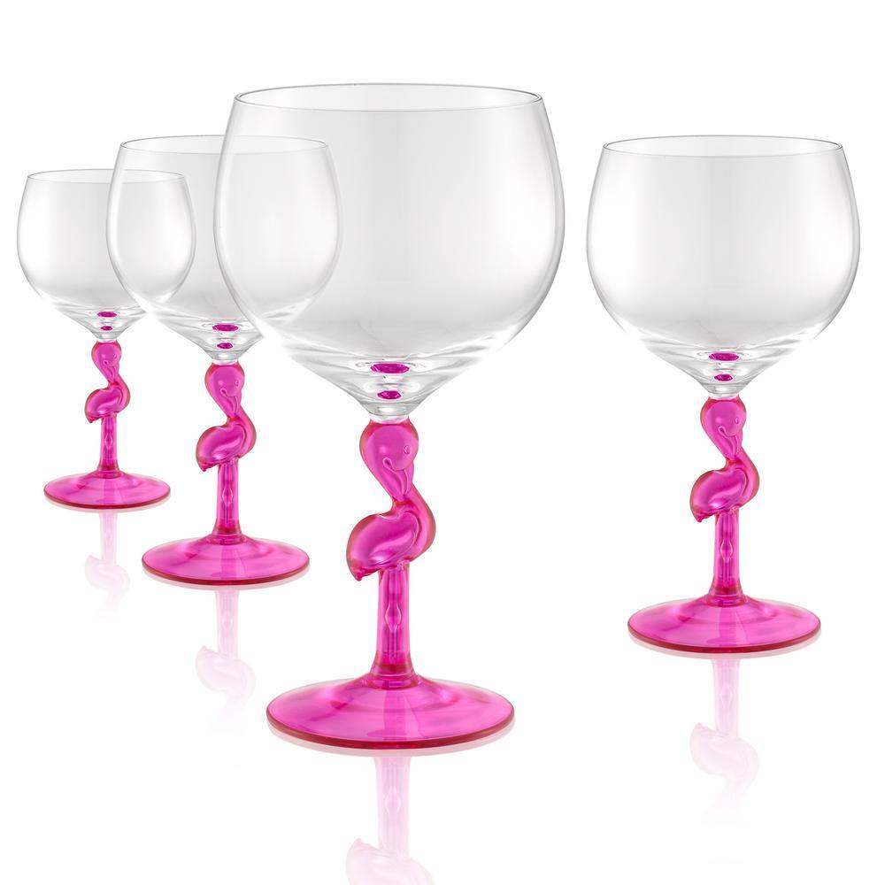 Flamingo 22 oz. 4-Piece Balloon Wine/Gin Glass Set