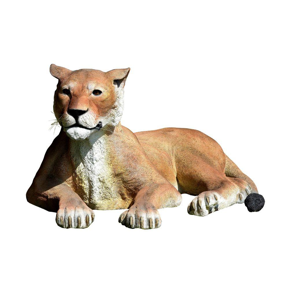 Design Toscano 55 in. W x 34 in. D x 26 in. H Grand Scale Lioness Lying Down Garden Statue-DISCONTINUED