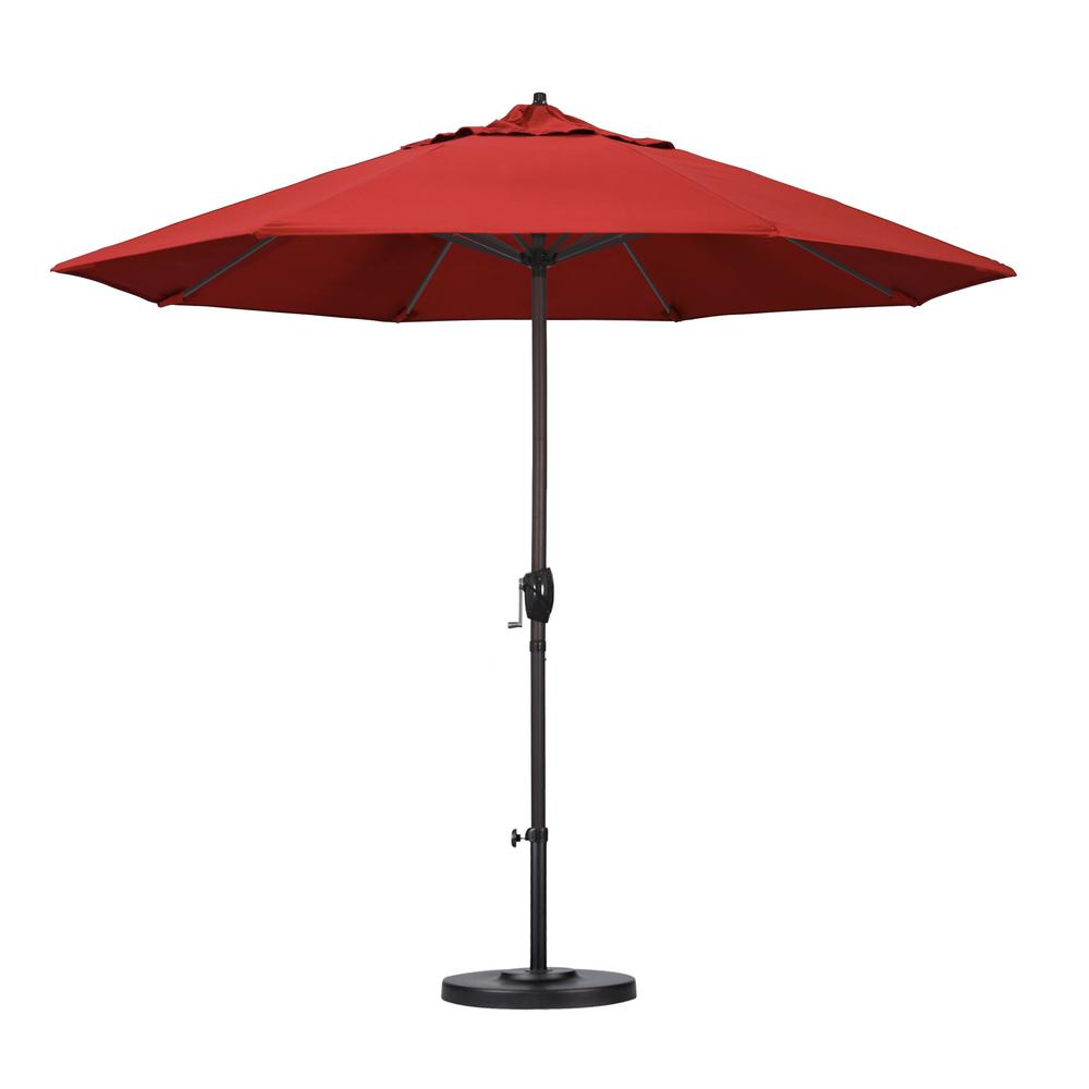 9 ft. Aluminum Auto Tilt Patio Umbrella in Red Olefin