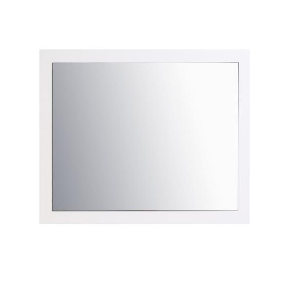 Sun 36 in. W x 30 in. H Framed Rectangular Bathroom Vanity Mirror in Gloss White