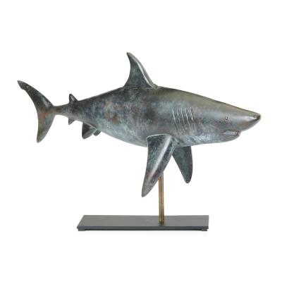 Nautical Home Décor Pure Copper Hand Finished Grey Patina Shark Table Top Sculpture