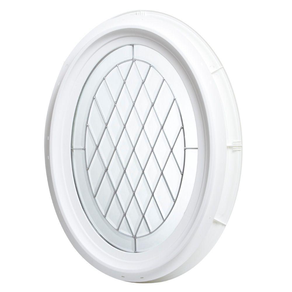 20 in. x 28.5 in. Oval Geometric Vinyl Window - White