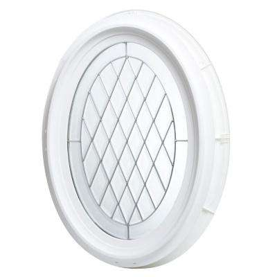 20 in. x 28.5 in. Oval Geometric Vinyl Window - White