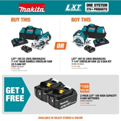 18-Volt X2 LXT Lithium-Ion (36-Volt) Brushless Cordless Rear Handle 7-1/4 in. Circular Saw w/BONUS 5.0Ah Battery 2 Pack