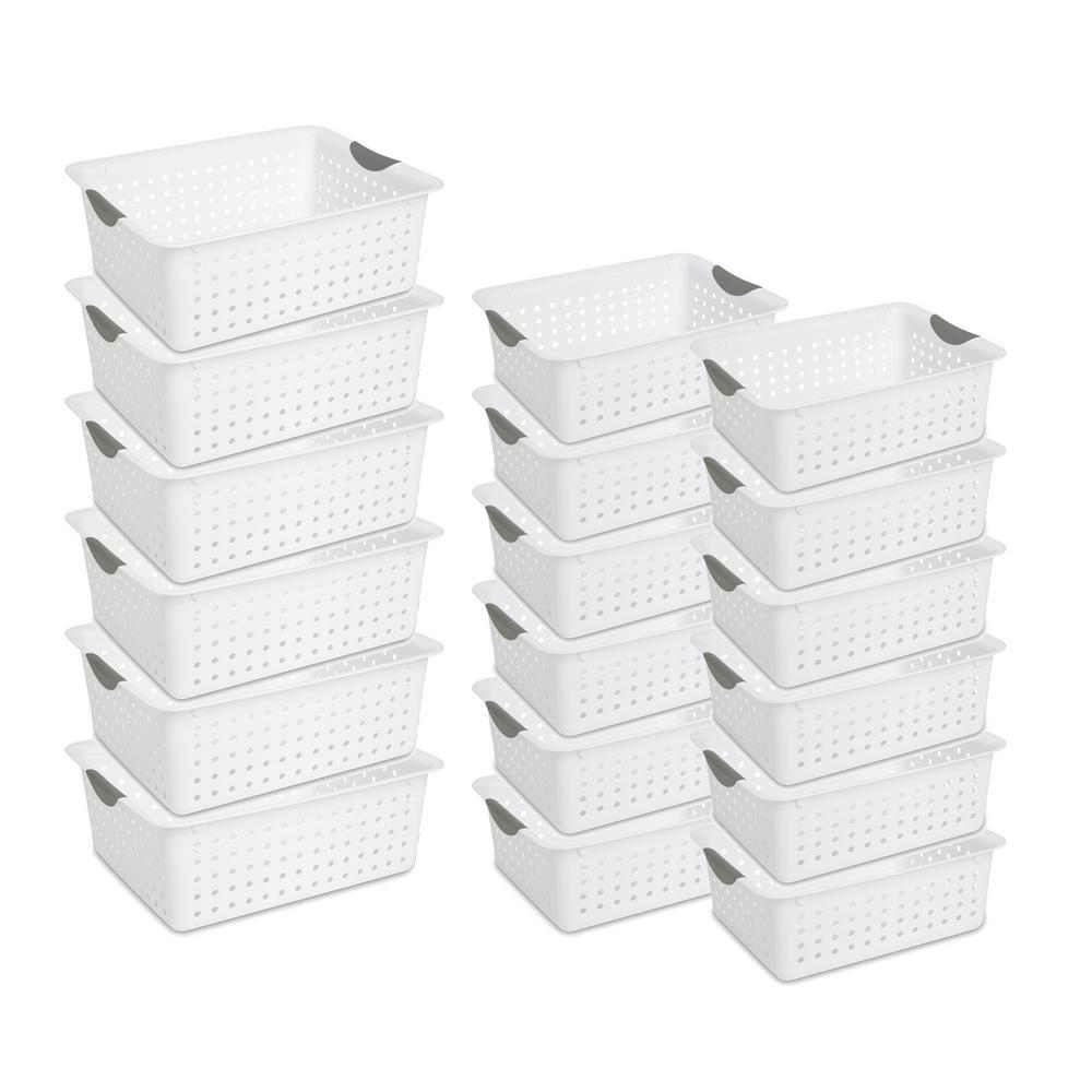 16 in. D x 13.2 in. W x 6.3 in. H Large Ultra Storage Bin Basket (6-Pack) + Medium Organizers (12-Pack)
