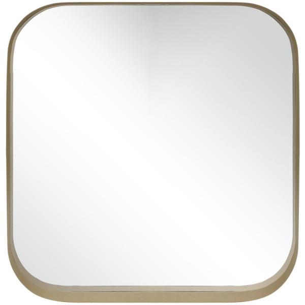 Medium Square Gold Modern Mirror with Rounded Corners (26 in. H x 26 in. W)