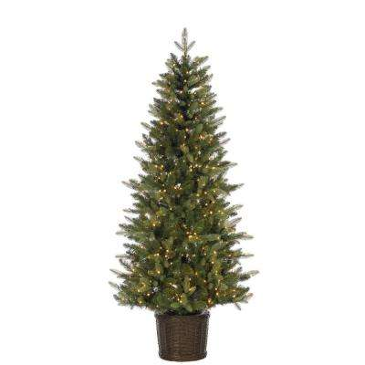 6 ft. Potted Natural Cut Ontario Pine Artificial Christmas Tree with 500 Warm White LED Micro Lights