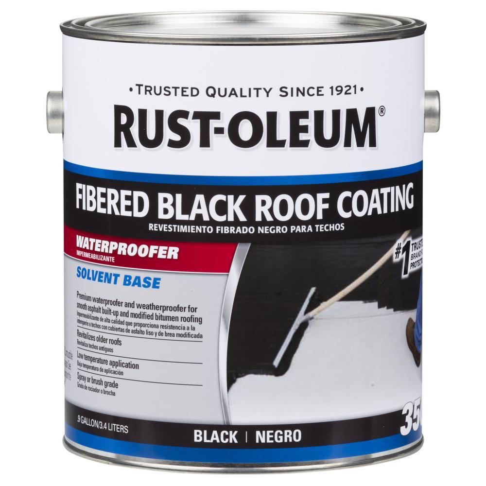 Rust Oleum 0 9 Gal 350 Fibered Black Asphalt Roof Coating 301909 The Home Depot