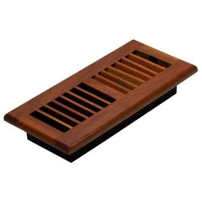 4 in. x 10 in. Louvered Floor Register, Natural Cherry