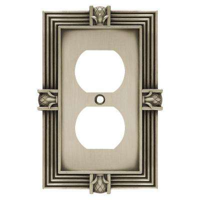 Pineapple Decorative Single Duplex Outlet Cover, Brushed Satin Pewter