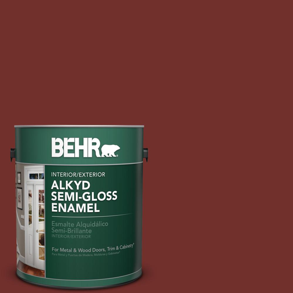 1 gal. #BXC-76 Florence Red Semi-Gloss Enamel Alkyd Interior/Exterior Paint