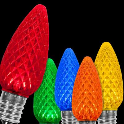 OptiCore C9 LED Multi-Color Faceted Christmas Light Bulbs (25-Pack)
