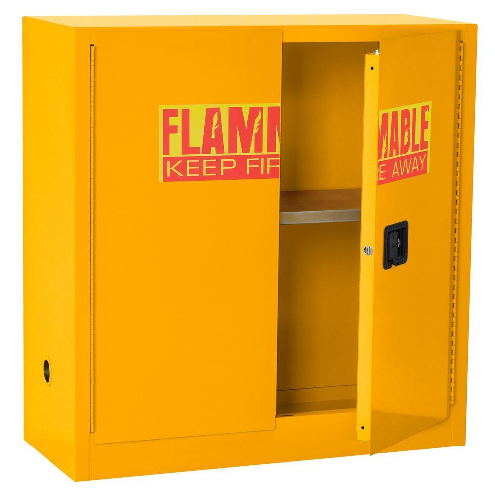 44 in. H x 43 in.W x 18 in. D Steel Freestanding Flammable Liquid Safety Double-Door Cabinet in Yellow
