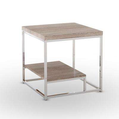 Lucia Light Brown End Table with Chrome Base