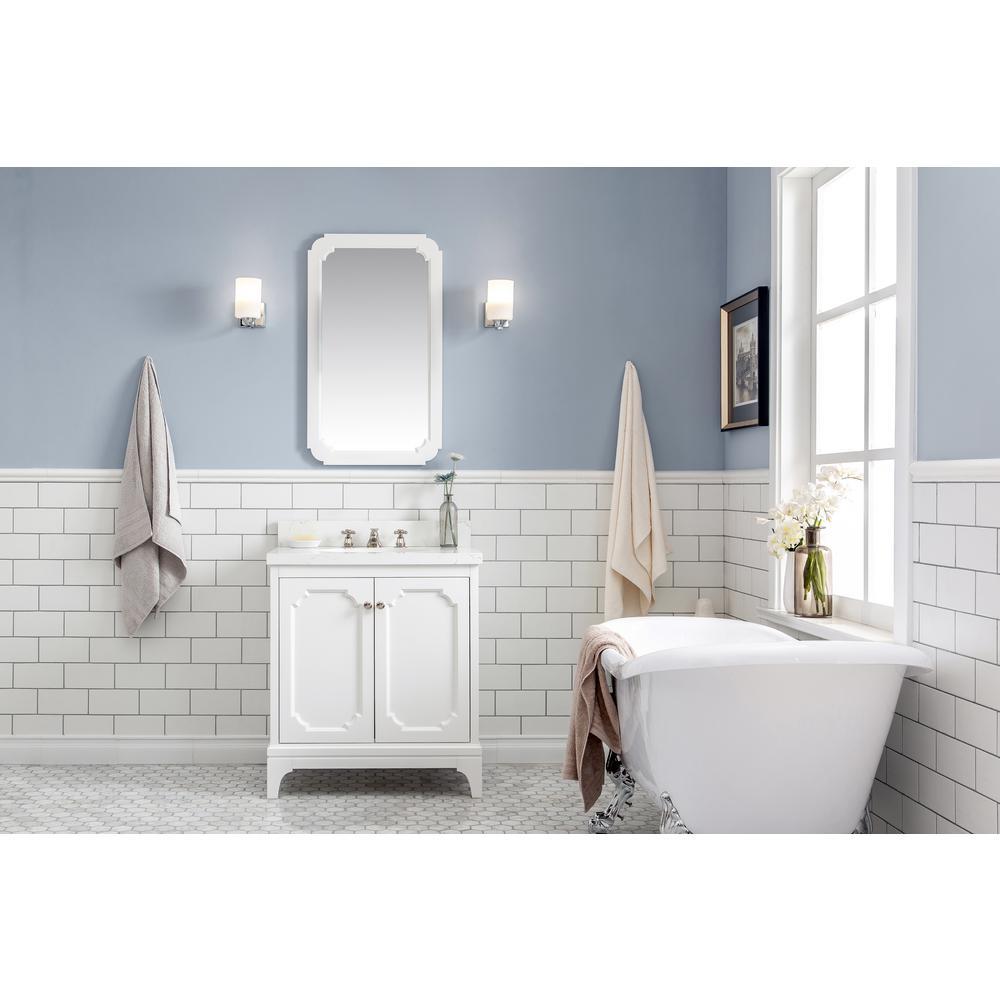 Queen Collection 30 in. Bathroom Vanity in Pure White With Vanity Top in Quartz Carrara - Vanity Only