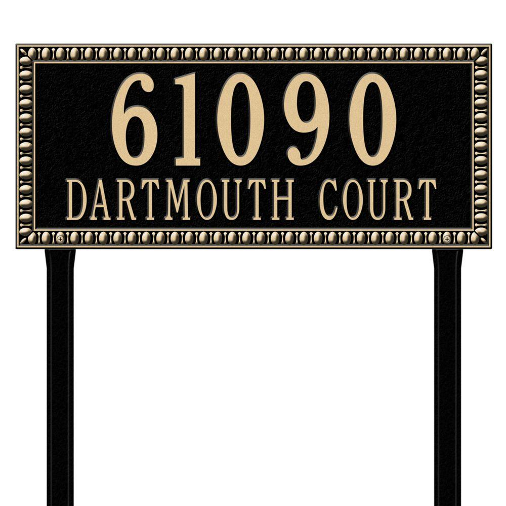 Egg and Dart Rectangular Black/Gold Estate Lawn Two Line Address Plaque