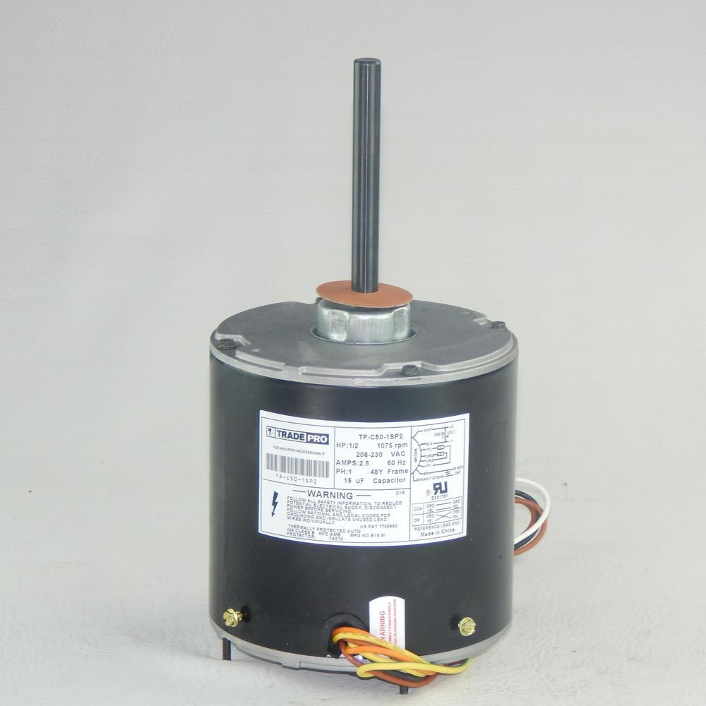 Replacement Condenser Fan Motor 1/2 HP Single Speed 1075 RPM 230-Volt