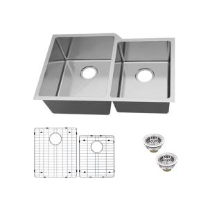 Undermount 18-Gauge Stainless Steel 31 in. 0-Hole 60/40 Double Bowl Kitchen Sink with Grid and Drain Assemblies