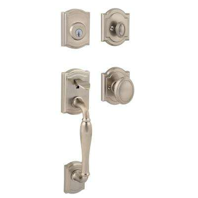 Prestige Wesley Single Cylinder Satin Nickel Exterior Handleset with Carnaby Entry Knob featuring SmartKey