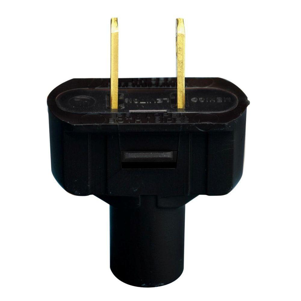 Leviton 15 Amp 2-Pole Flat Plug, Black