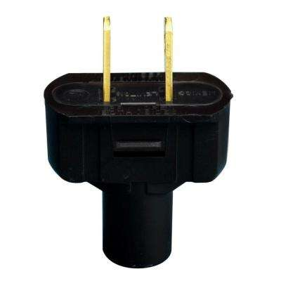15 Amp Double-Pole Flat Plug, Black