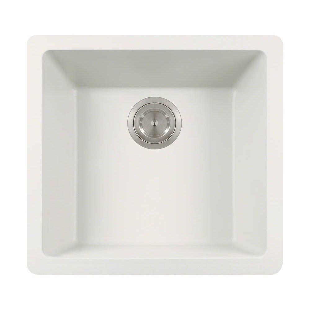 Undermount Quartz 17.75 in. 0-Hole Single Bowl Kitchen Si...